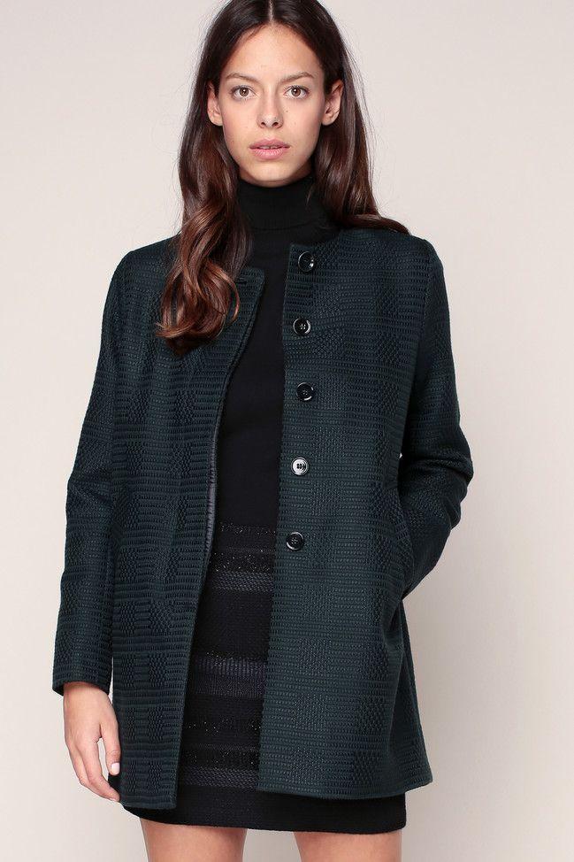 Manteau texturé laine Dadi Sessun col rond vert prix  Monshowroom 245.00 €