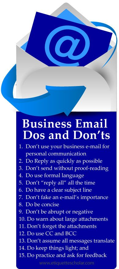Business Email Etiquette Dos and Don'ts - Keep it professional and don't sabotage your career by making an email etiquette mistake! handshake - great etiquette tips for all business and social situations! Plus, more dining and business etiquette advice for career success! Topics include office etiquette, introduction etiquette, meeting etiquette, international etiquette, business lunch etiquette, interview etiquette tips, and more…