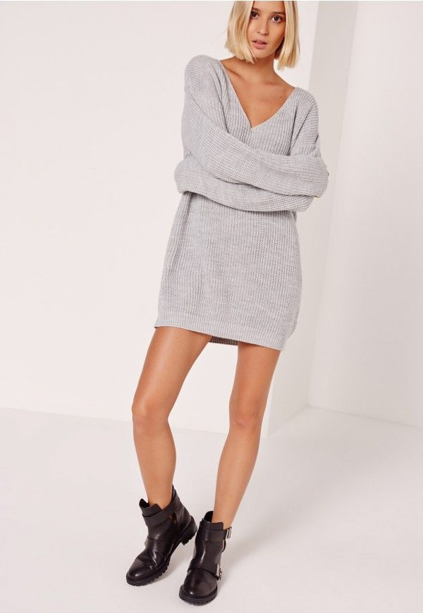 robe-pull grise décolletée manches longues - Missguided