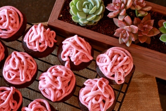 Chocolate beet cupcakes with beet cream cheese frosting.