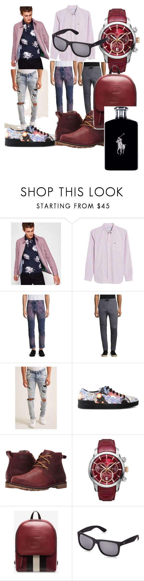 """""""#winter#trend#fashone#moda#men#"""" by hannazakaria ❤ liked on Polyvore featuring Ted Baker, Lacoste, Gucci, Zanerobe, 21 Men, Moschino, Columbia, Allurez, Bally and Ray-Ban"""