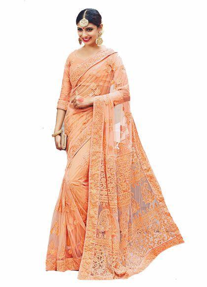 Peach Color Pure Net Lucknowi Chikankari Saree
