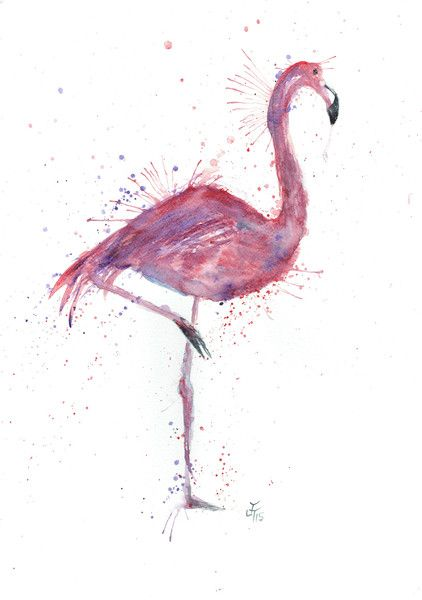 Flo the flamingo signed  A3 size art print of an original watercolour painting printed on 250gsm silk paper