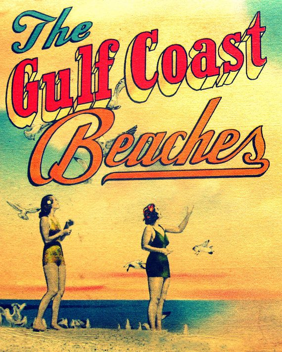 beach print GULF COAST BEACHES 8 x10 art photograph coastal decor 1940s