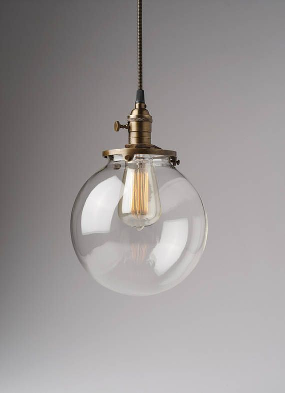 Clear Glass Globe Pendant Light Fixture With 8 Shade Hand Blown