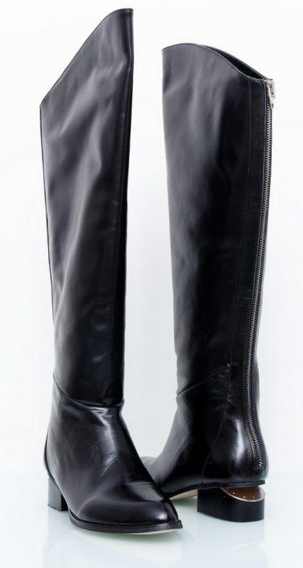 Сапоги Alexander Wang Sigrid Tall Zip Boot кожаные, черные