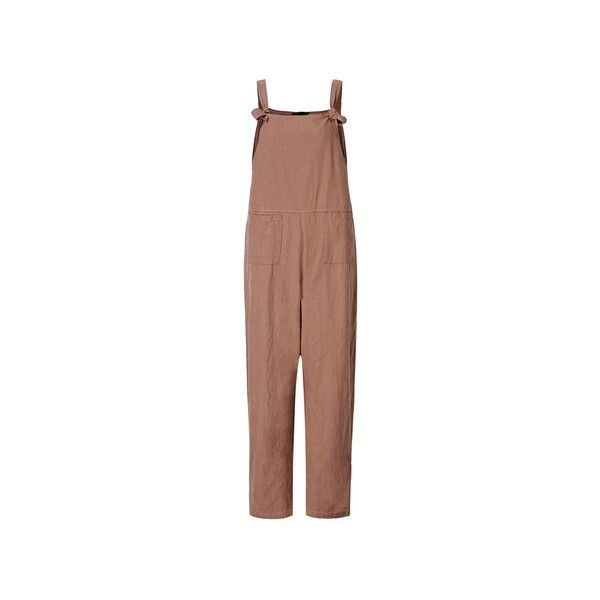 O-NEWE Casual Strap Pockets Jumpsuit Romper Trousers Overalls (€19) ❤ liked on Polyvore featuring jumpsuits, khaki, women plus size bottoms, strappy jumpsuit, plus size bib overalls, summer romper, playsuit romper and beige overalls