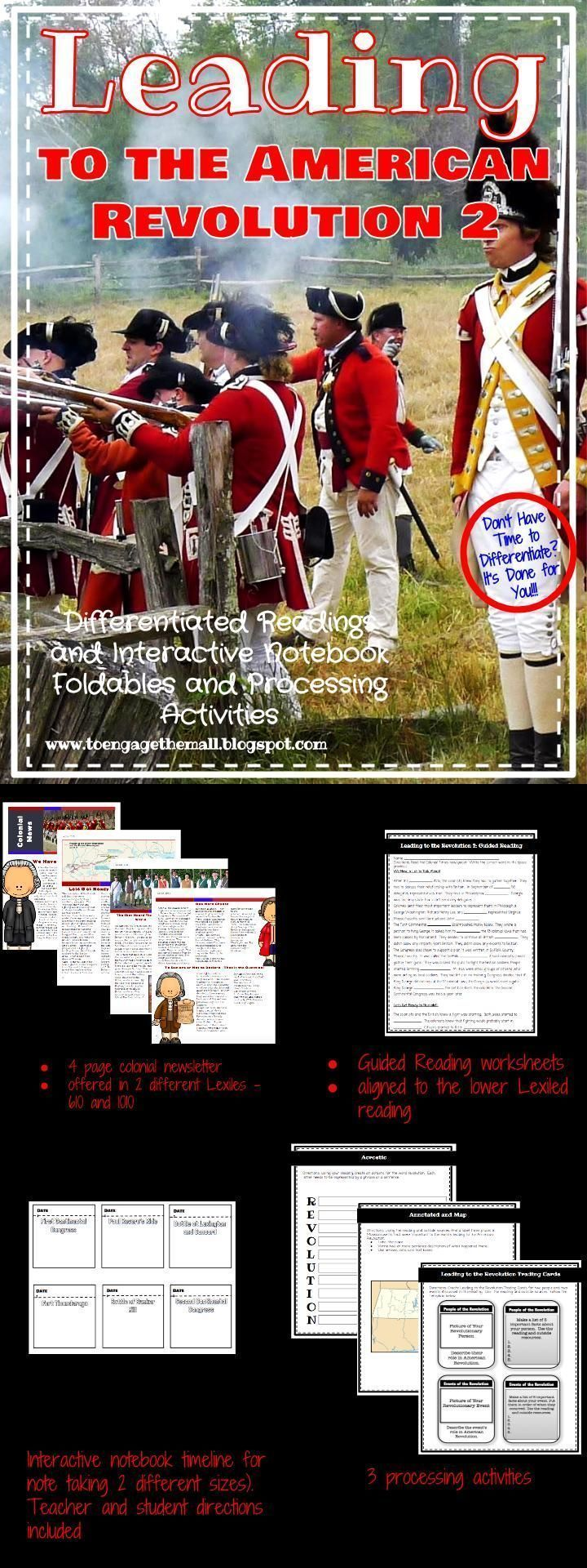 Leading to the American Revolution 2 - Interactive Notebooks and Leveled Readings