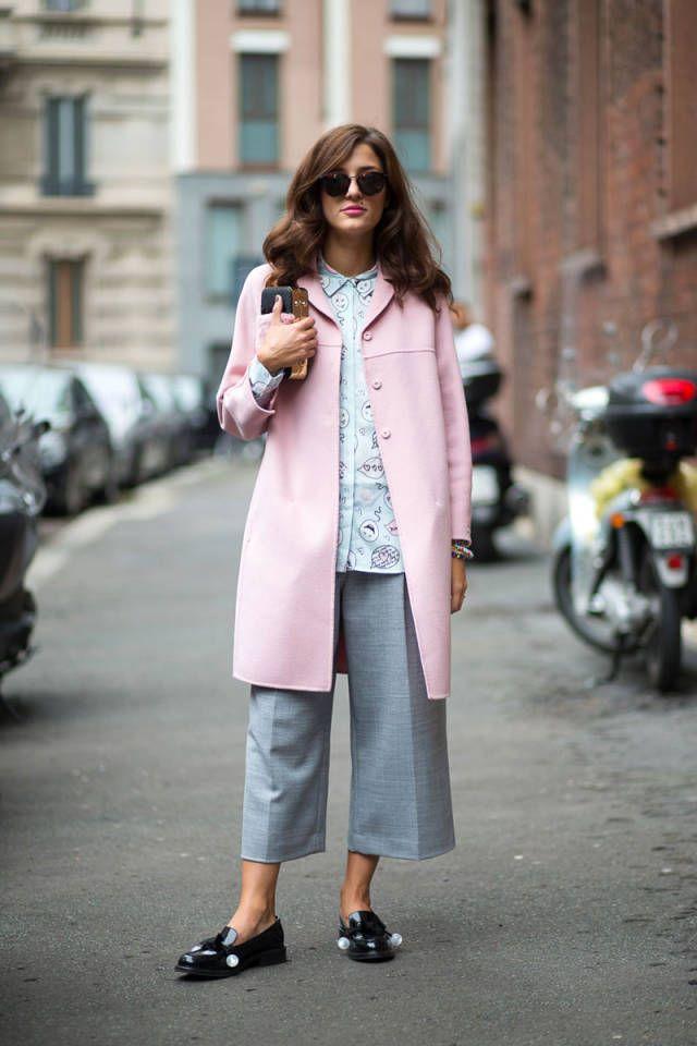 Pastels in street style. Milan Fashion Week Spring 2015