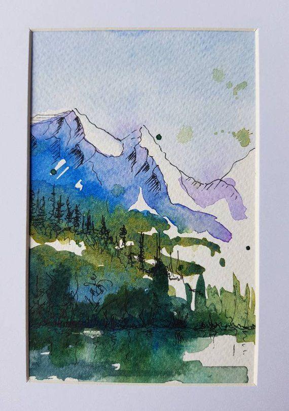 Original Watercolour Painting Mountain Art Landscape Framed Etsy