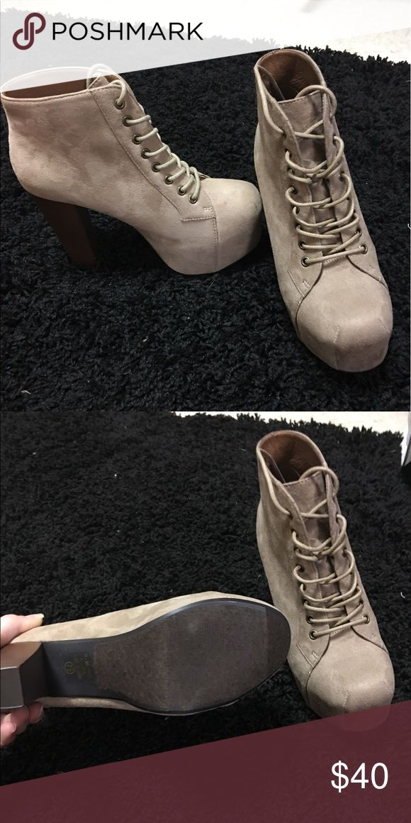Brand new taupe booties lace up Brand new taupe booties from Deb shop Shoes Ankle Boots & Booties