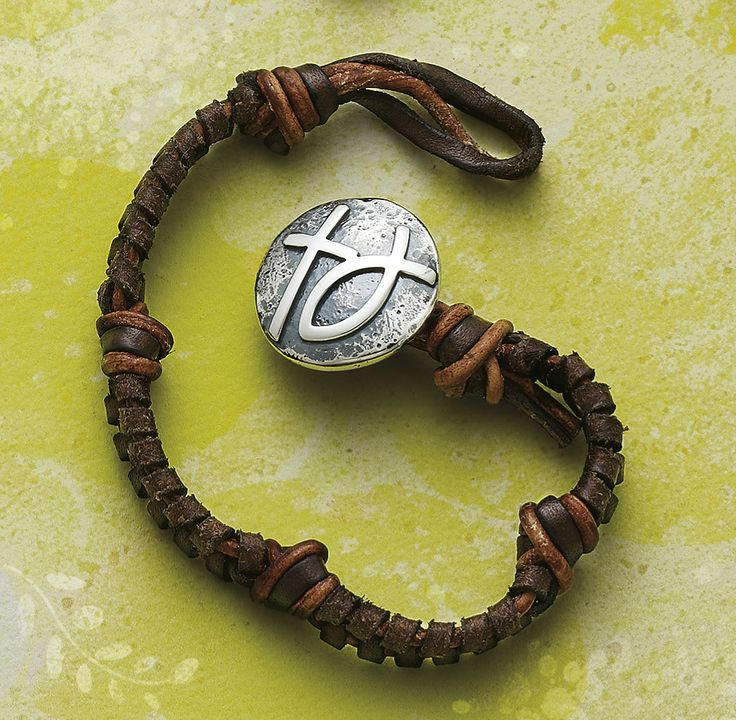 Mocha Woven Leather Bracelet With Rustic Cross Ichthus Clasp Jamesavery