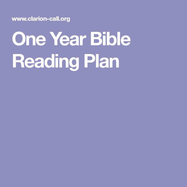 One Year Bible Reading Plan
