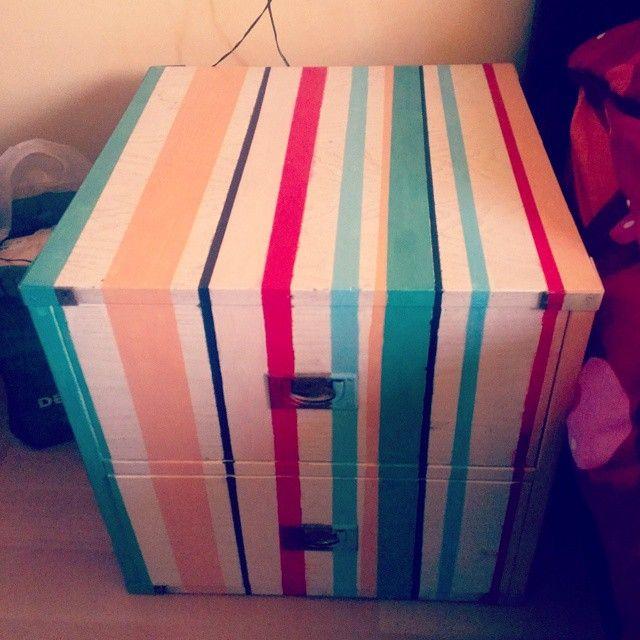 A coloured bedside table!  #Solas #bedsidetable #enamel #Opale #colors #DIY