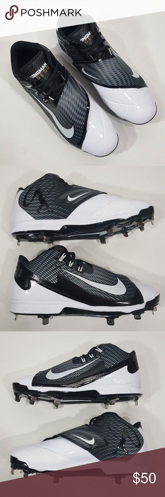 NIKE Air Swingman Legend Baseball Metal Cleats Integrated Flywire technology wraps the foot and allows for a custom fit TPU plate with six full-length metal cleats; three smaller metal cleats in the forefoot for outstanding traction Full-length Nike Air unit cushions for impact protection Midfoot strap provides supreme lock-down Synthetic and mesh upper helps keep your foot cool and comfortable  Item ships within 2 business days of payment. Nike Shoes Athletic Shoes