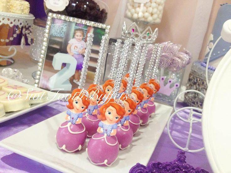 princess sofia party candy and desserts table cake pops fondant cake