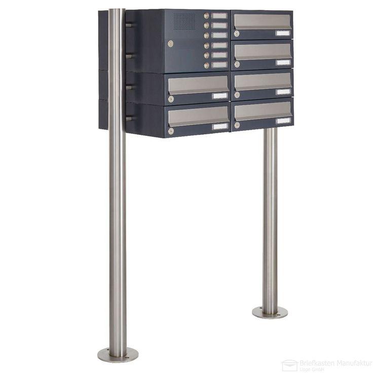 6er Briefkastenanlage freistehend Design BASIC 385-7016VA-SP mit Klingel- Sprechteil - Briefkästen horizontal - Edelstahl-Anthrazit-Grau RAL 7016