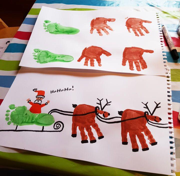 Att ge bort barnens hand eller fotavtryck är alltid uppskattat. Alexandra Karlsson tar det ett steg vidare med den här fantastiska jultavlan!