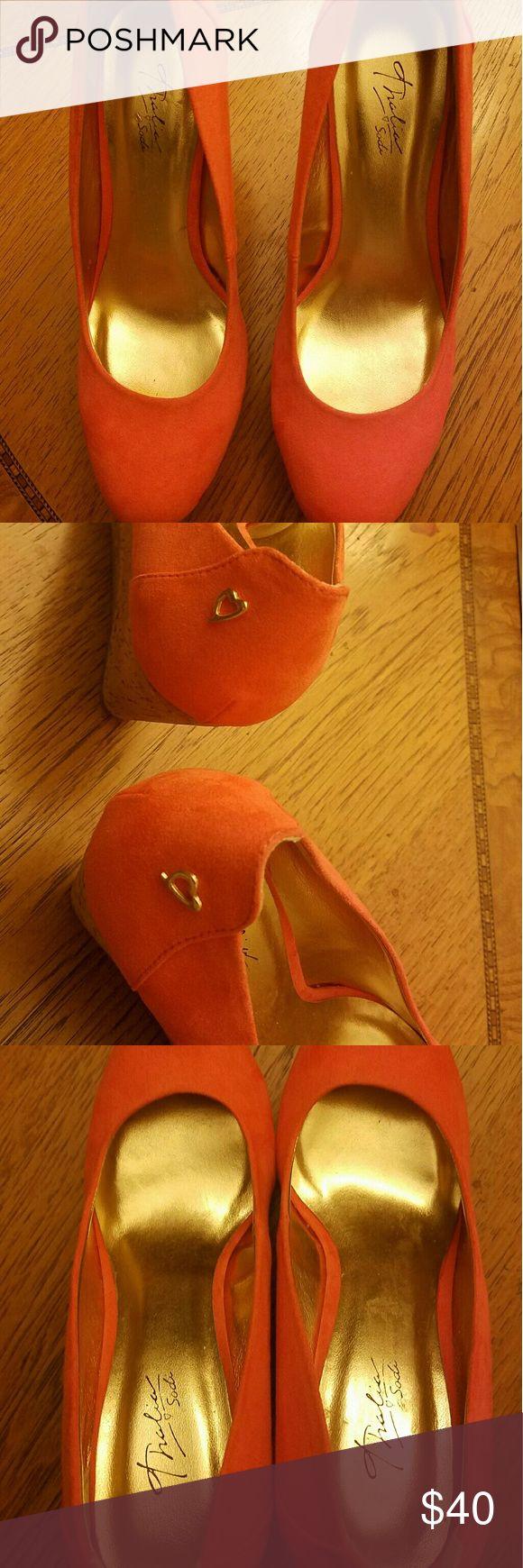 Thalia Sodi Orange Wedge Pumps Thalia Sodi Orange Wedge Pumps, heart detail on shoes  ☆☆Shoes never worn, only tried on ☆☆ Thalia Sodi Shoes Platforms