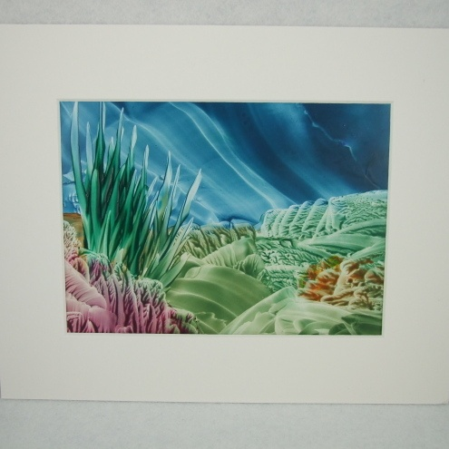 Deep sea encaustic art picture made with wax