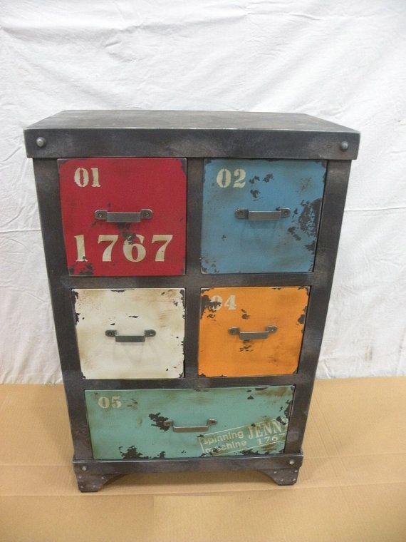 vintage industrial storage box, case, cabinet, mid century modern, urban, loft decor. tool box on Etsy, $203.00