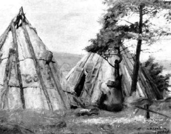 1906 Artwork of a wigwam at Tufts Cove in #Dartmouth NS #Mikmak