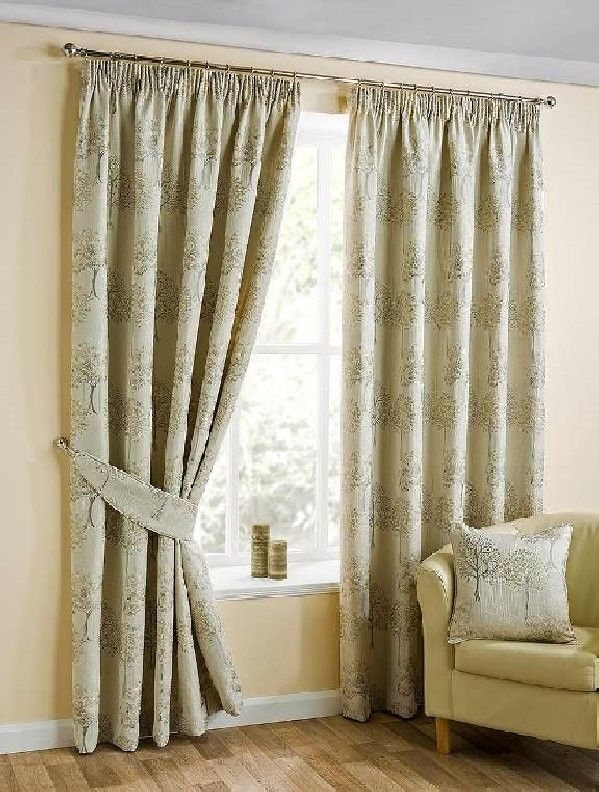 "Oakley Natural Pencil Pleat Curtains - 46x54""/117x137cm"