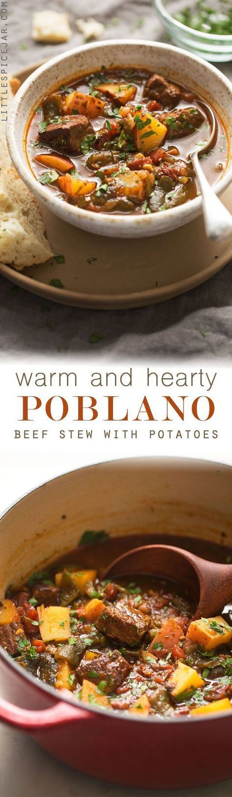 Hearty Poblano Beef Stew - a beef stew that's been amped up with roasted poblanos and chipotle peppers! So good you'll forget about your old stew recipe! #beefstew #stew #poblanobeefstew | http://Littlespicejar.com