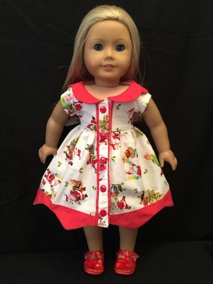 Homemade Doll Clothes For 18 Inch  Soft Body Dolls:  Christmas Print Dress…