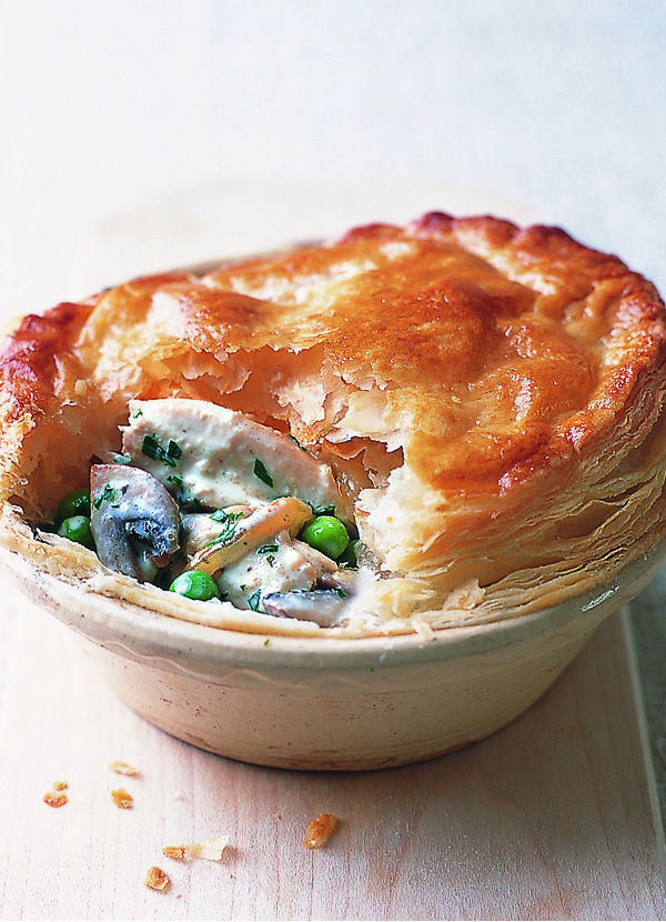 Quick chicken pie. Make the most of leftover cooked chicken from a roast to whip up these easy chicken pies - filled with a creamy mushroom, pea and parsley sauce and topped with golden puff pastry.