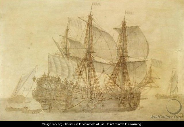 The Dutch Voc Ship De Concordia In A Calm Sea, A Flagship And A Smalship In The Distance - Cornelis Bouwmeester