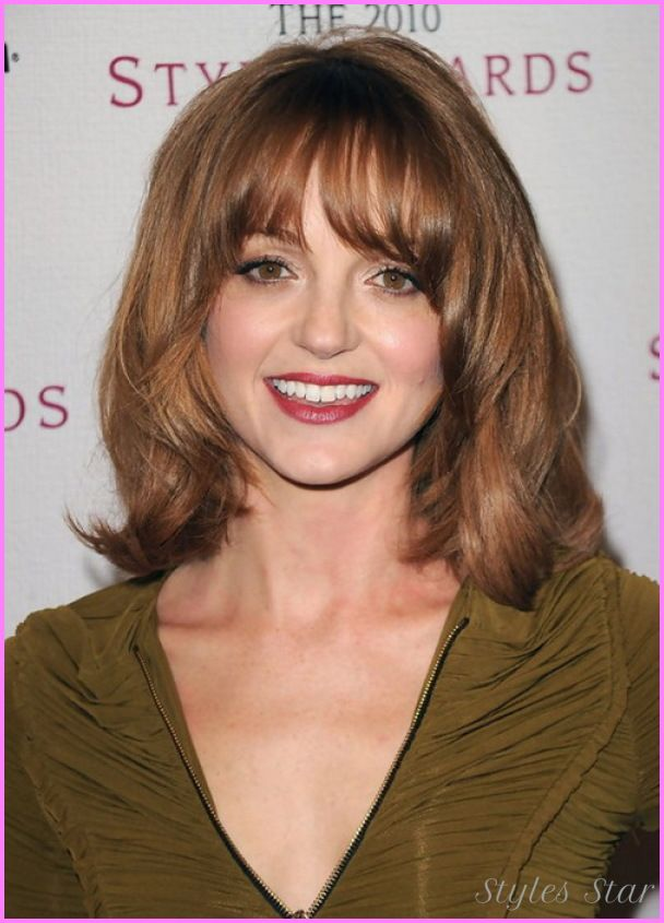 Medium length haircuts for round faces over - http://stylesstar.com/medium-length-haircuts-round-faces.html