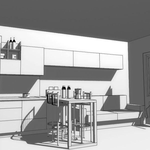 «Холостятская» кухня-гостиная для Елены   Как удобно распланировать небольшое пространство?  Самое для меня интересное в работе над этим проектом, то, что с Еленой мы пока еще не встречались. И «анамнез», к слову сказать, очень полный, был собран Дмитрием. Итак, дано кухня – гостиная метров около 14 кв.м.  Форму помещение имеет вытянутую, вход напротив окна.  Требуется организовать комфортную зону как «гостиной» - диван, телевизор, так и кухонное пространство с обеденной зоной в виде барной…