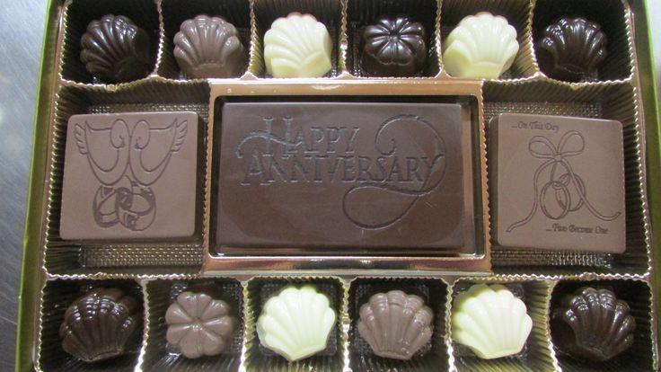 Large gift box of engraved gourmet chocolates.