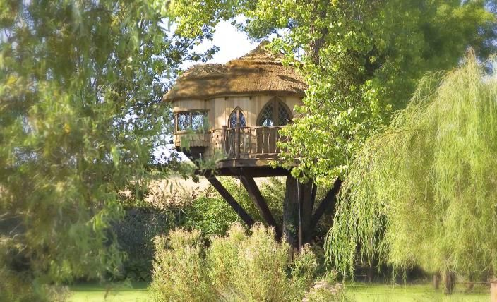 how to build a treehouse roof around a tree