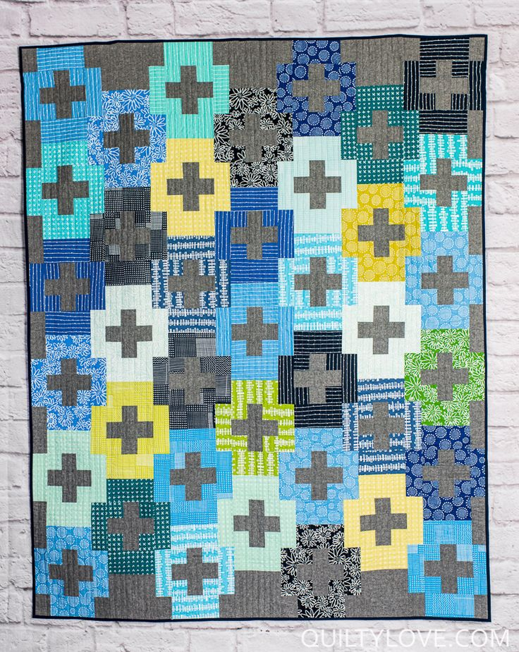 Blueberry Park Plus and Minus quilt by Emily of Quilty Love. Modern plus   quilt pattern. Easy quilt pattern for the beginner quilter.  Blueberrry   Park plus quilt using Essex Linen.  Fat quarter friendly quilt.