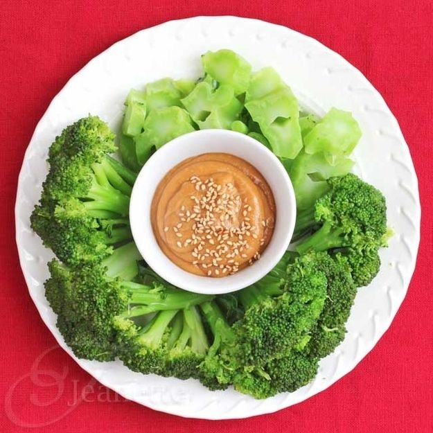 Steamed Broccoli with Miso Peanut Butter Sauce