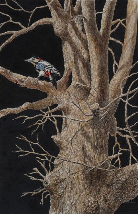 THE HOLE - Painting, tempera 50x70 cm ©2012 by VALENTINO CAMILETTI -                                                        Figurative Art, Paper, Animals