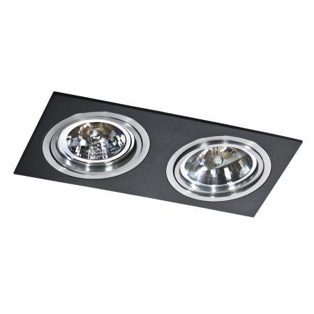 Oczko LAMPA sufitowa SIRO 2 GM2200 BK/ALU Azzardo metalowa OPRAWA podtynkowa ruchoma IP20 wpust prostokątna aluminium czarny