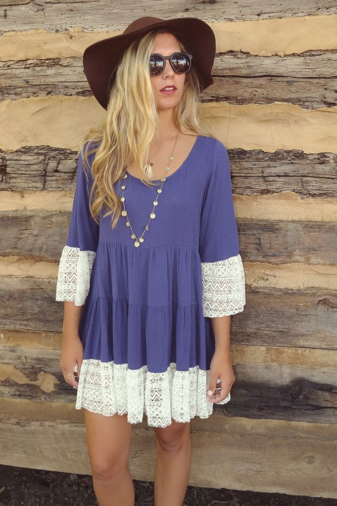 London Fog Indigo Scoop Neck Multi Tiered Peasant Dress With Lace Hem & Bell Sleeves
