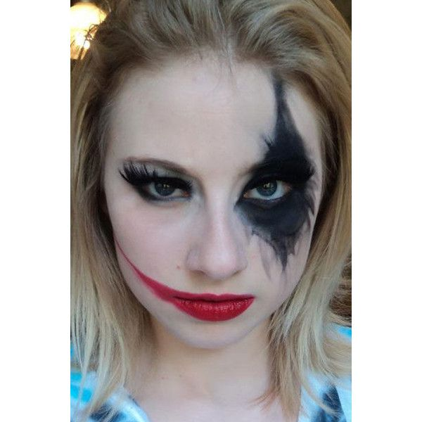 7 Harley Quinn Makeup Tutorials That Are Seriously Badass ❤ liked on Polyvore featuring makeup