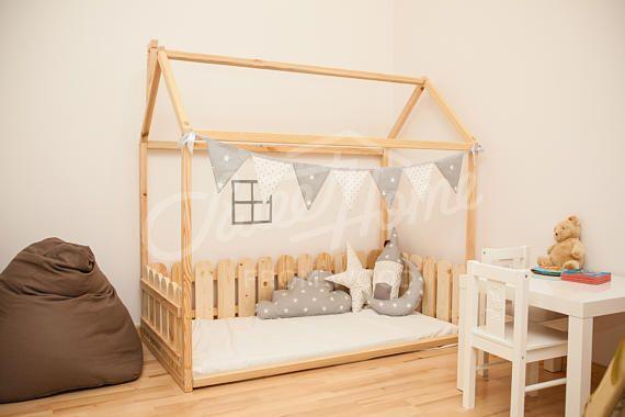 Children bed 190x90cm, toddler bed, bedroom bed, crib, toddler house bed, bedroom interior, Montessori unique bed, Children crib fence