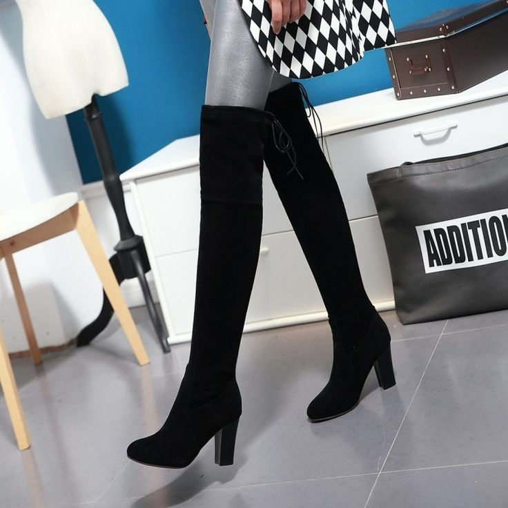(32.39$)  Know more - http://aiw2n.worlditems.win/all/product.php?id=32573398758 - Winter Women Black Grey Block Chunky Heels Sexy Long Thigh High Boots Over the Knee High Heel Boots Sobre la rodilla Botas Mujer