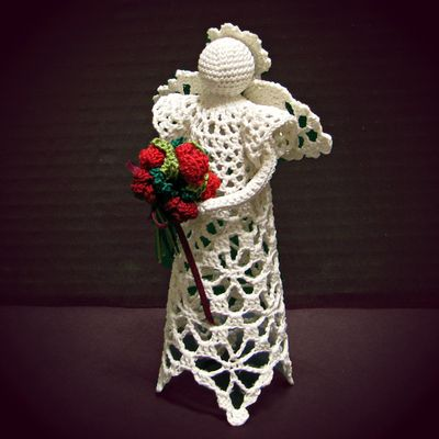 Starry #lace #angel #figurine, #handmade in #threadcrochet by #CaraLouise at #HeritageHeartcraft thread crochet angel