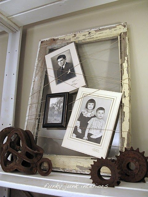 Vintage frame, twine, and photos by Funky Junk Interiors via Brooklyn Limestone