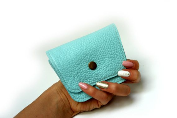 Baby Blue Women's Leather wallet Handmade Wallet by PansyBag