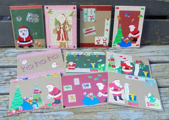 Santa Claus  set of 10 handmade cards by RogueKissedCraft on Etsy