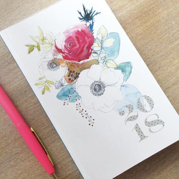 Agenda 2018, Diary, Bouquet Aquarelle par Bambouchic.