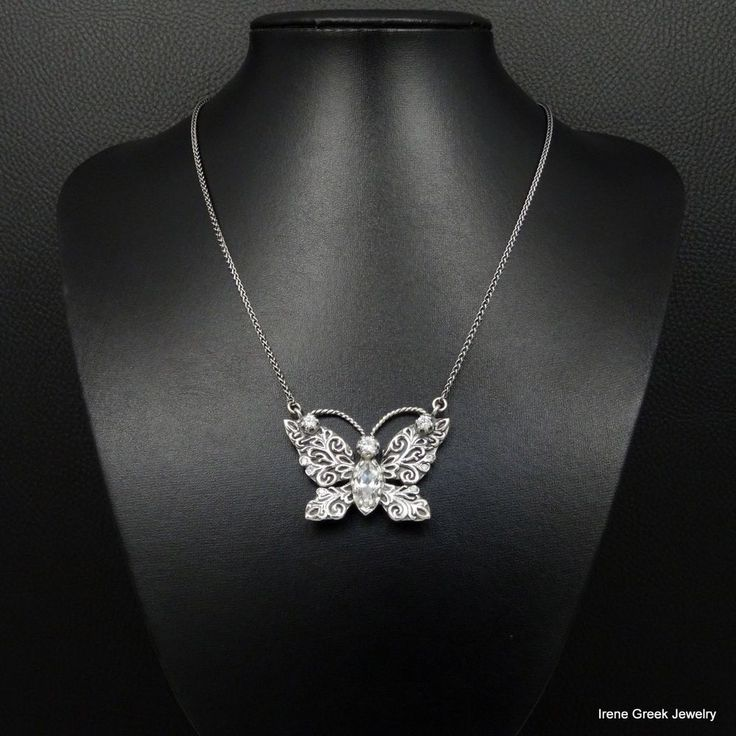 BIG LUXURY CZ BUTTERFLY STYLE 925 STERLING SILVER GREEK HANDMADE ART NECKLACE #IreneGreekJewelry #Pendant
