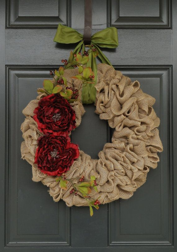 Holiday Burlap WreathChristmas Burlap Wreath by WhimsyChicDesigns, $60.00